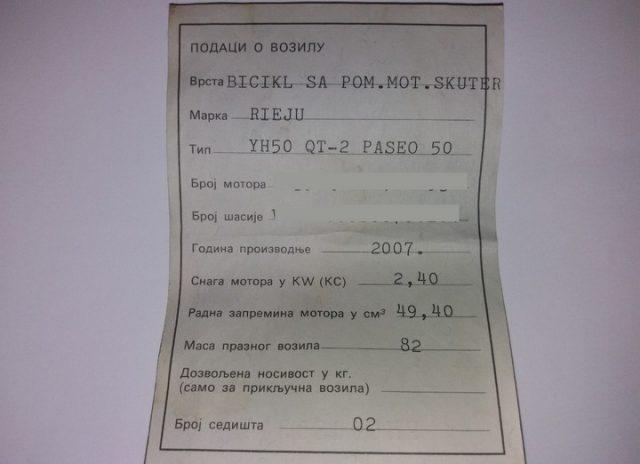 trajna registracija moped